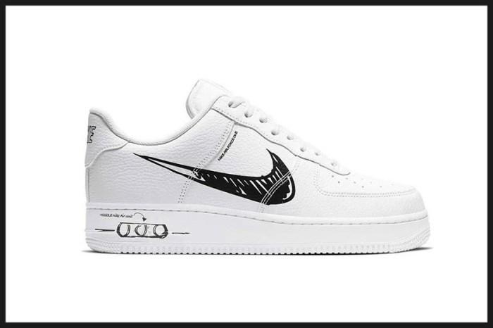 經典的 Swoosh 勾勾改換成手繪風格:Nike 這款 Air Force 1 黑白簡約中有巧思!