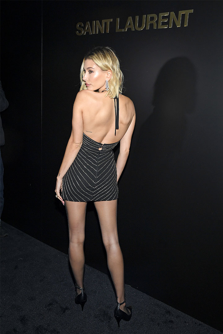 Hailey Bieber Attends Saint Laurent 2020 Fall Fashion Show