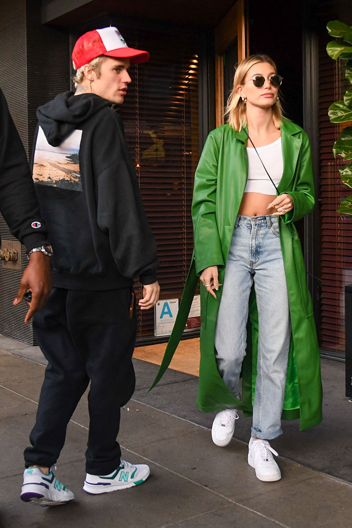 Hailey Bieber Wore Staud's Colorful Vegan Length Coat