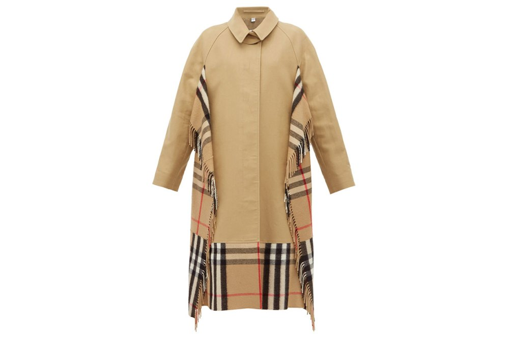 House-check cashmere and cotton trench coat