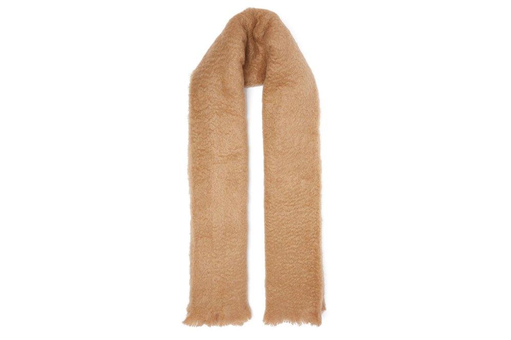 Logo-label mohair-blend blanket scarf