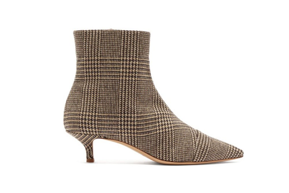 Point-toe tweed ankle boots