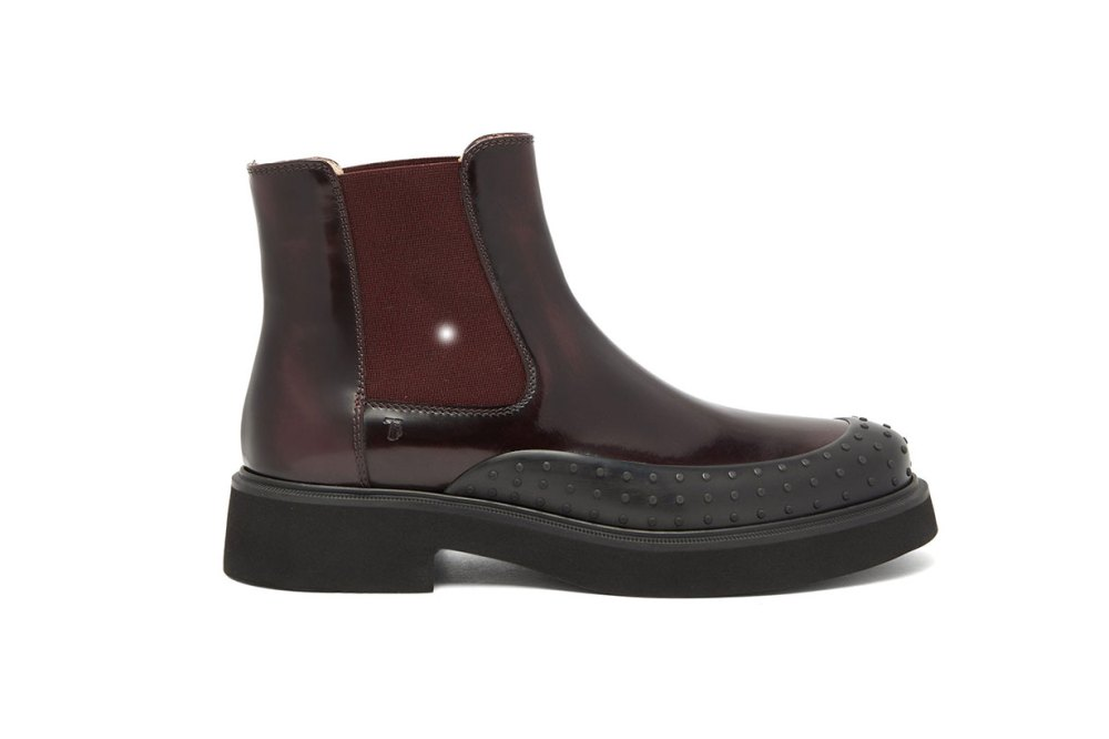 Rubber-toe patent-leather Chelsea boots