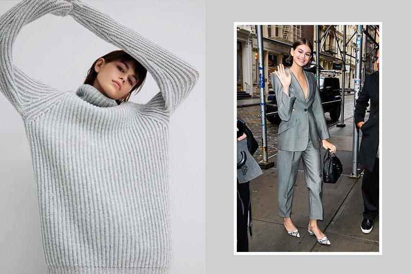 kaia gerber Alexander McQueen backless suit new york street style