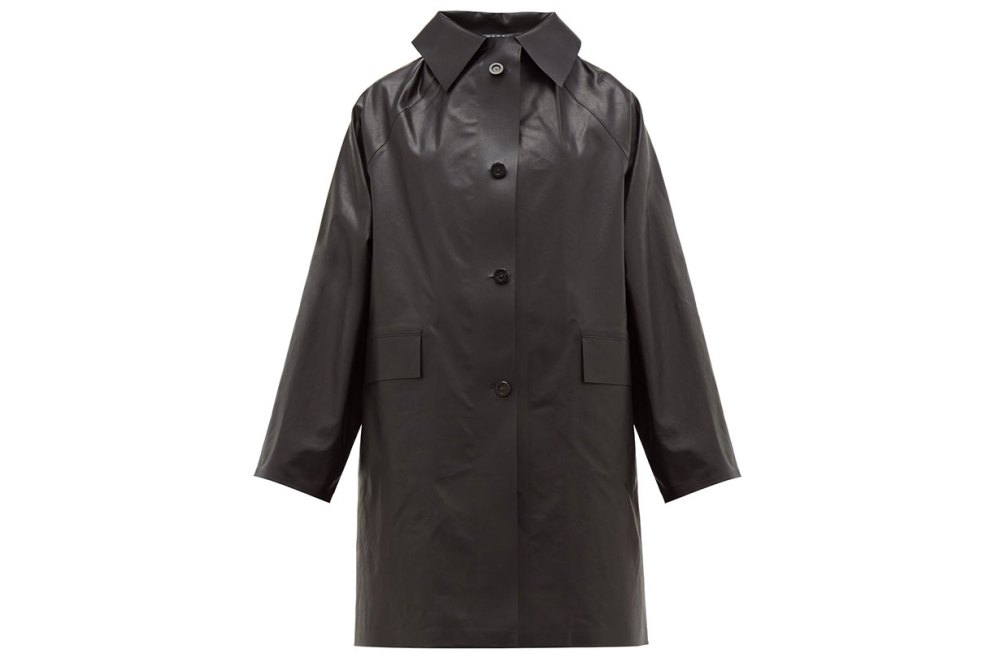 Single-breasted coated cotton blend coat
