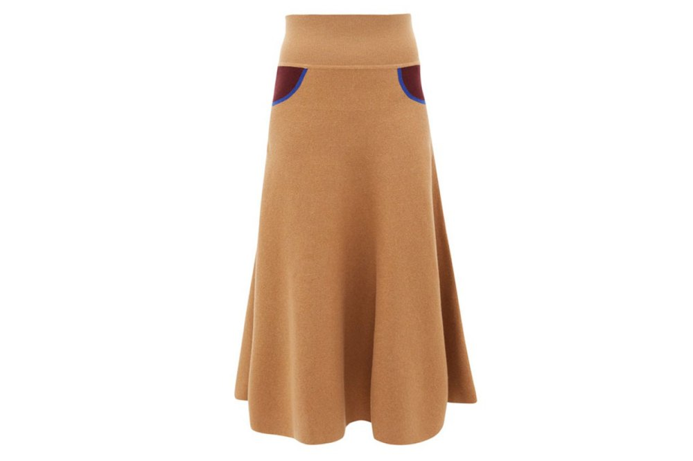 Trompe L'oeil cashmere skirt