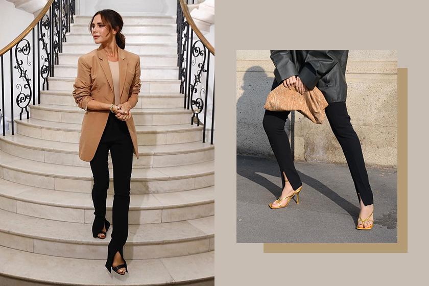 pants trends split hem trouser detail Victoria beckham 2020 fashion trend