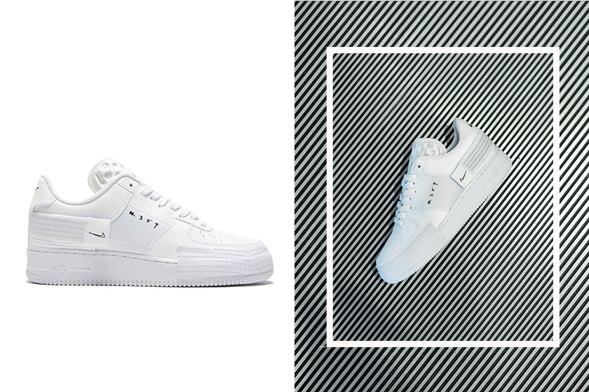 nike air force 1 type white black doodle details