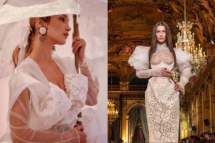 #PFW:Bella Hadid 化身復古公主,壓軸穿上 Vivienne Westwood 蕾絲透視婚紗!