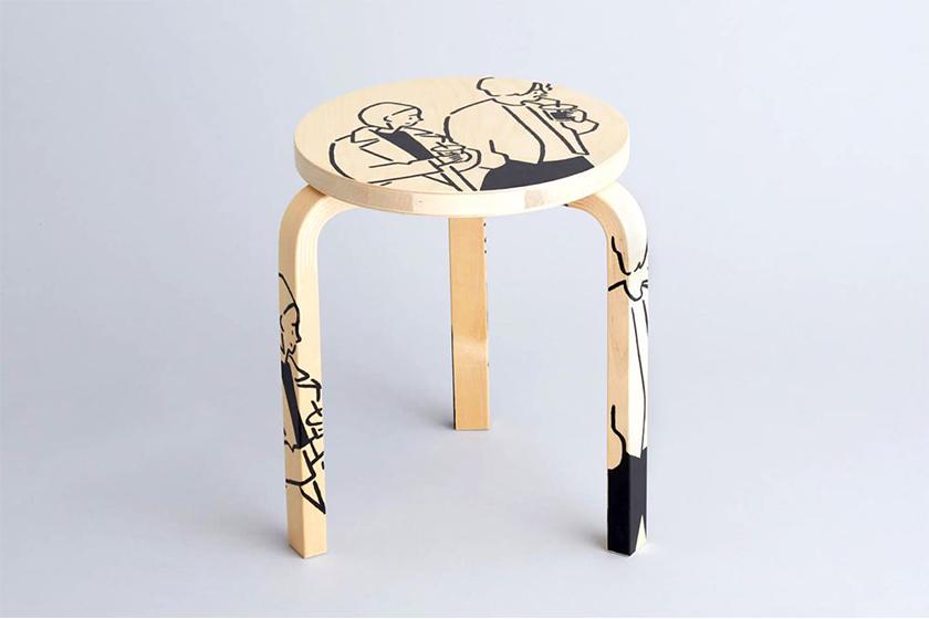 artek tokyo store yu nagaba stool 60 three legged wood stool