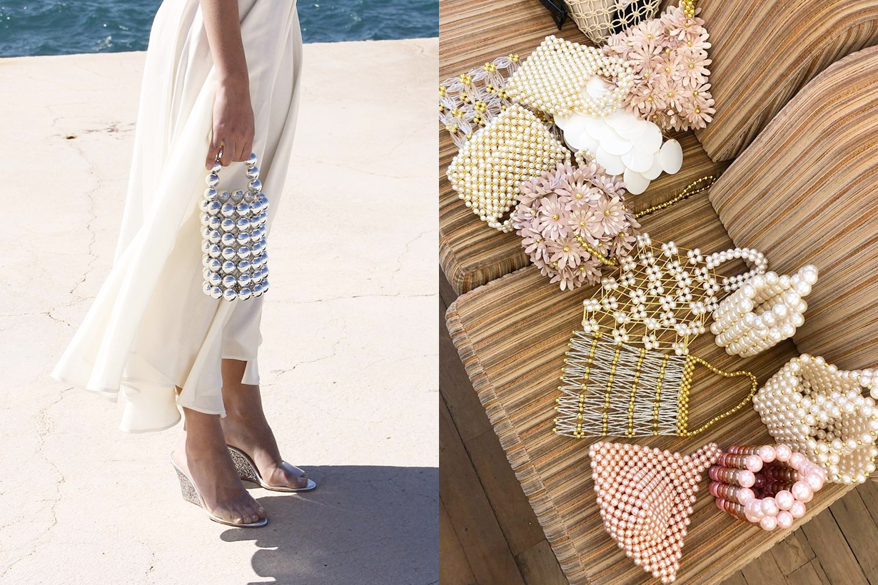 vanina lebanon beaded bag pearl mini shopping