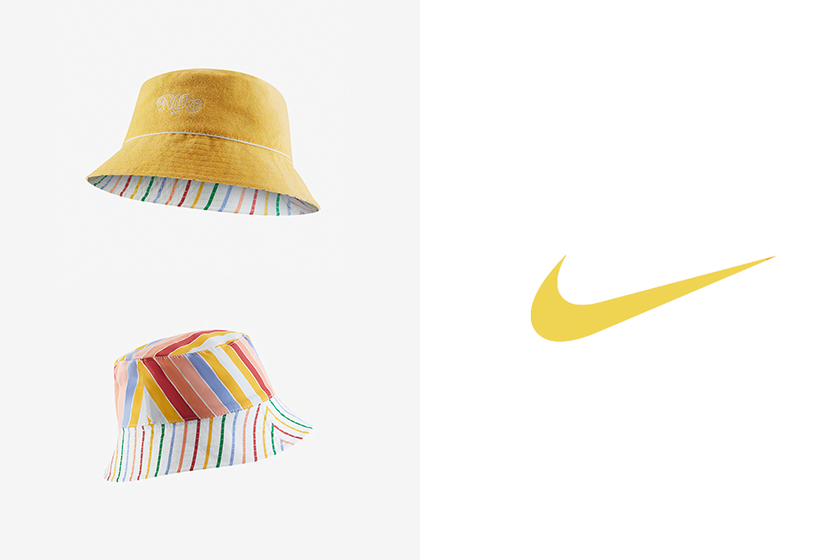nike logo bucket hat yellow retro reversible striped pattern accessories