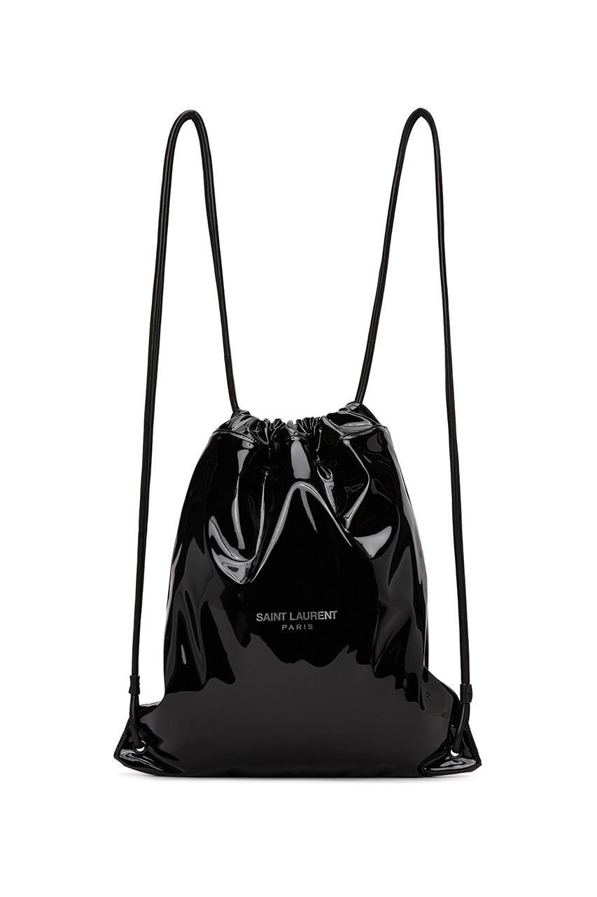 saint laurent black patent leather lambskin teddy backpack drawstring Anthony vaccarello handbags