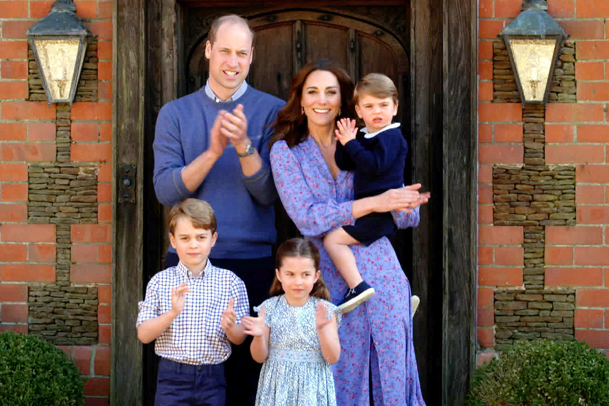 Kate Middleton Prince William Prince George Princess Charlotte Prince Louis Clap for Our Carers Covid-19 Coronavirus Wuhan Pneumonia ASOS Ghost Anouk crepe midi dress with western collar detail British Royal Family Celebrities Styles
