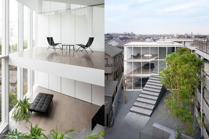 座落於繁忙擁擠的新宿:設計公司 Nendo 以階梯貫穿,打造了三層樓庭院極簡住宅!