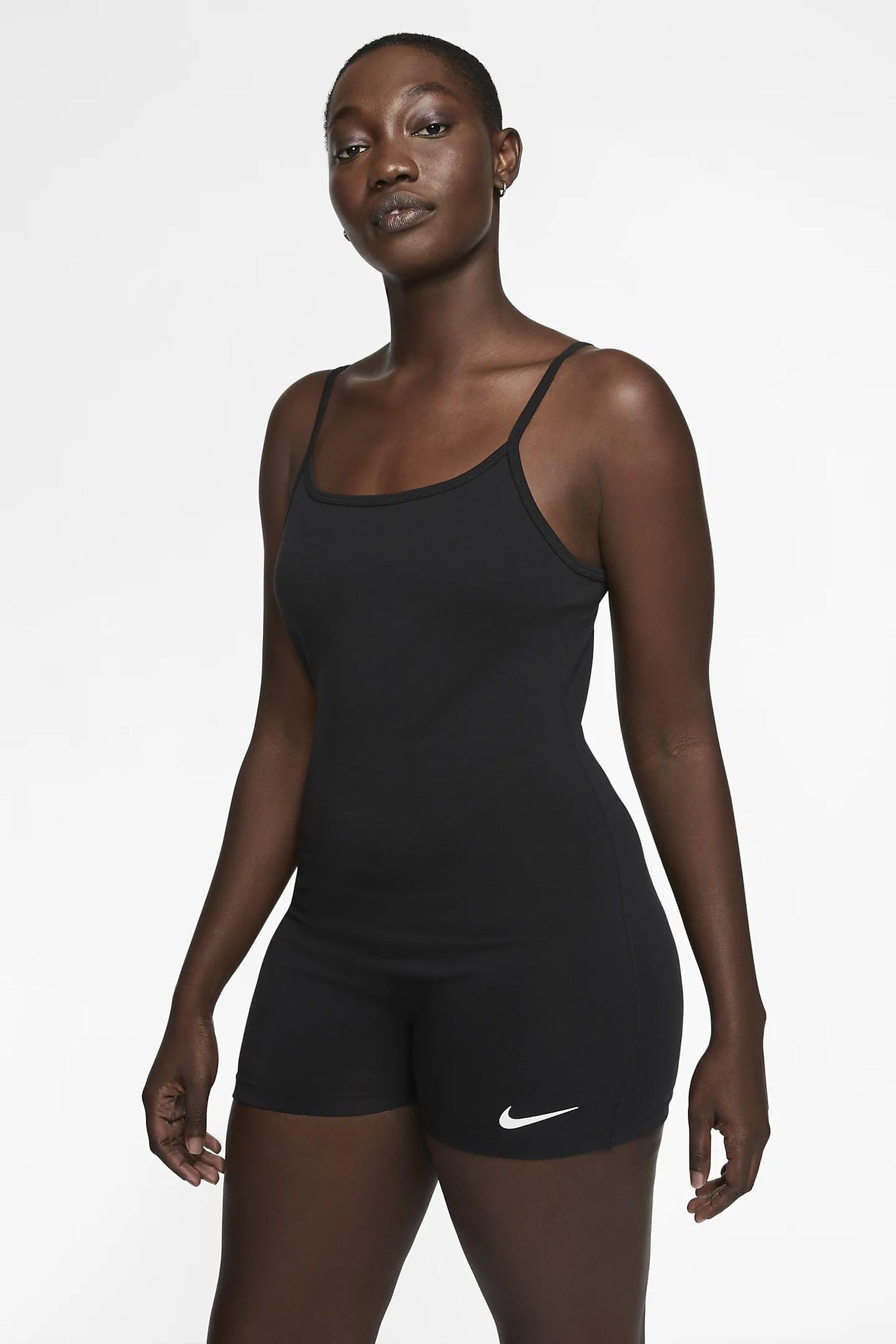 nike logo bodysuit black white minimal