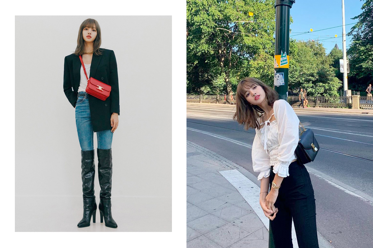 lisa blackpink celine suit style vest heels