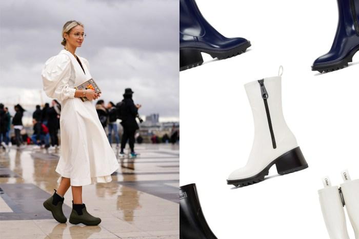 雨天也不怕狼狽:Chloé 這雙的拉鍊雨靴,每個細節都是顯腿長的設計!
