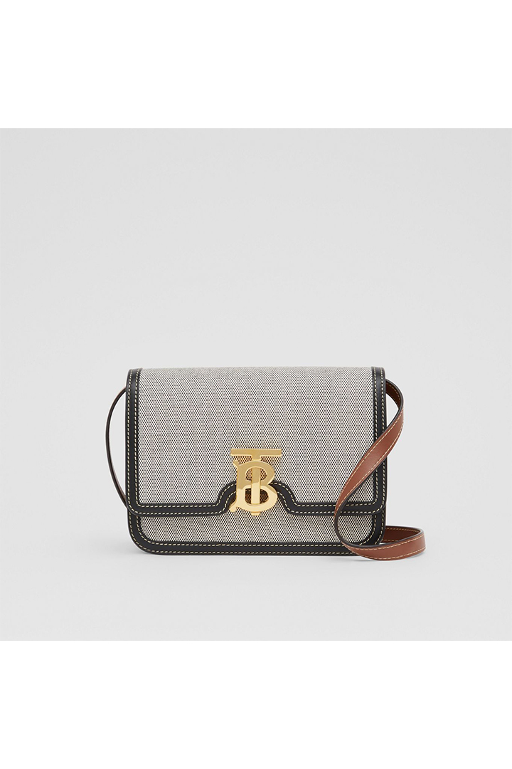 Burberry Small Tri-Tone Canvas & Leather TB Bag