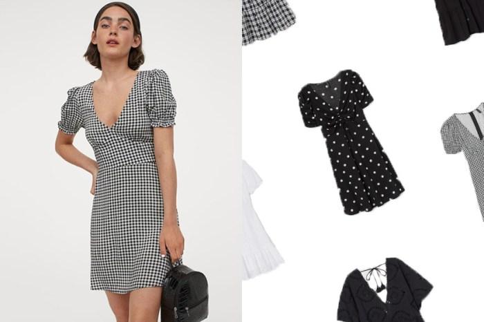 從 H&M 剛上架的新品中,挑一件摩登又率性的黑白短洋裝!