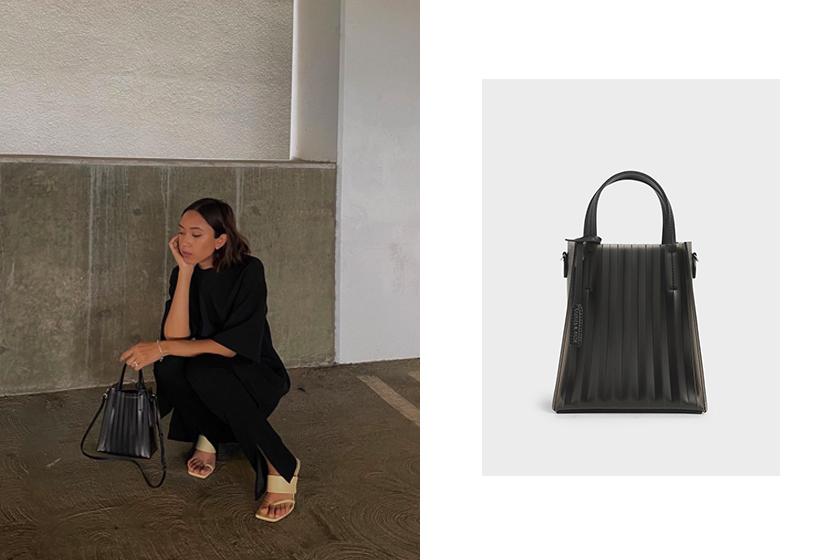 Charles & Keith Translucent Pleated Tote Bag handbags