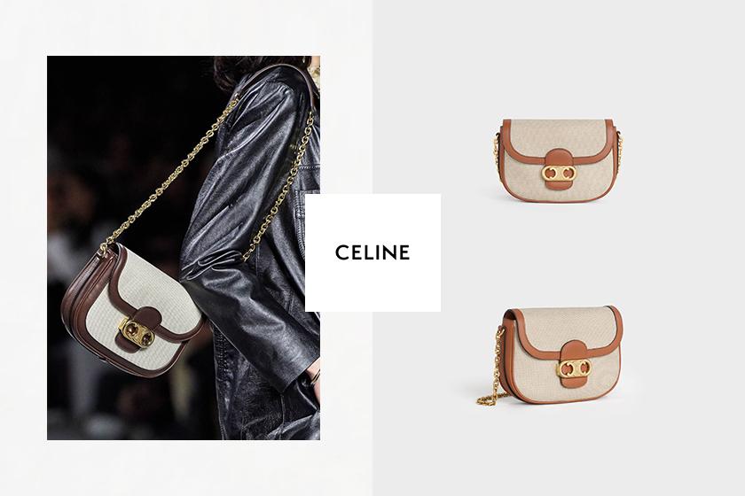 celine medium calfskin textile chain maillon triomphe handbags