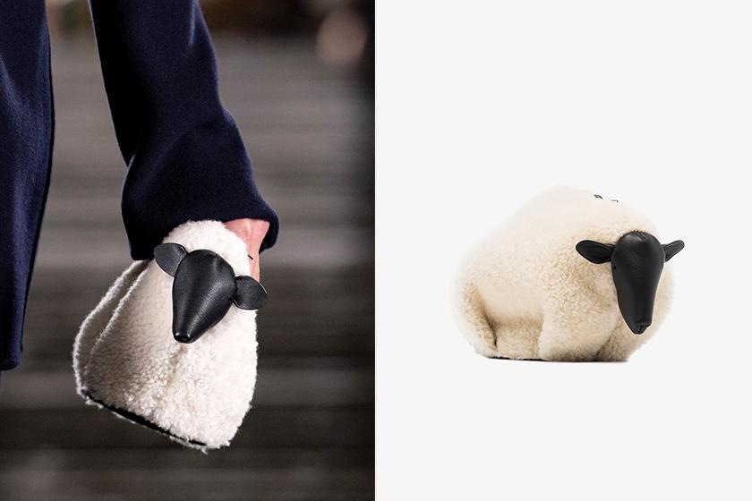 Loewe Neutral Sheep Leather And Shearling Mini Bag handbags