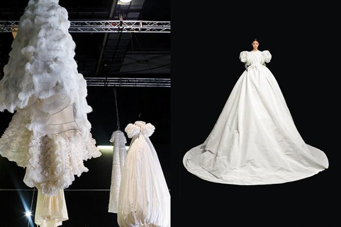 15 位模特變身華麗巨人,Valentino 秋冬高訂宛如降臨一場白色仙境!