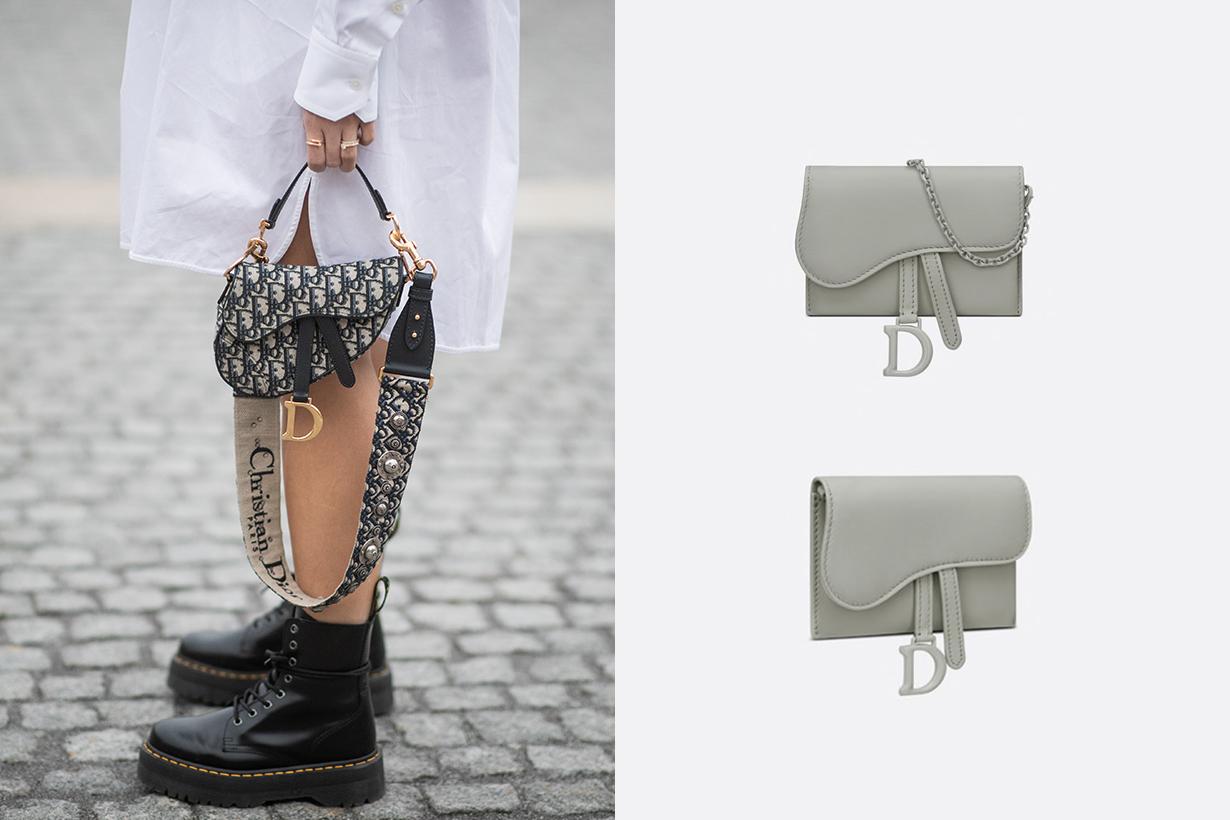 dior saddle nano pouch pelle di vitello ultraopaca grigio pietra handbags