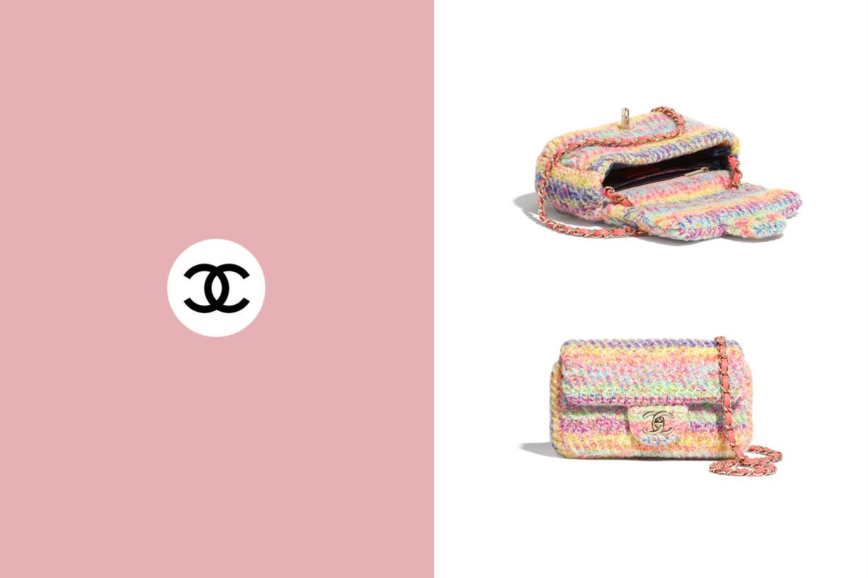 chanel flap bag knit pastel color 2020 new