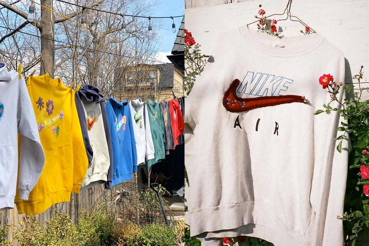 Bentgablenits nike vintage sweatshirt tee rework