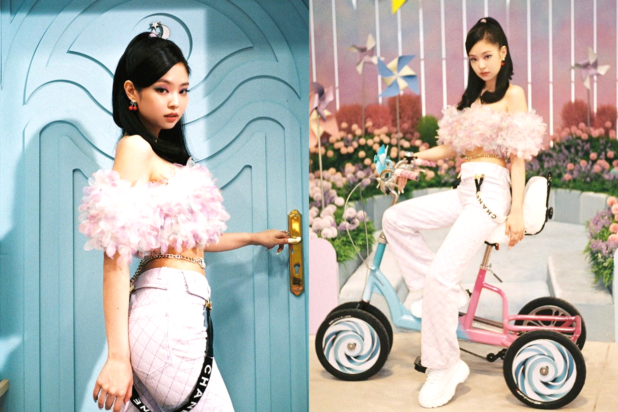 BLACKPINK Jennie Jisoo Lisa Rose Ice Cream Selena Gomez Chanel suspenders Trend 2020 Fall Winter