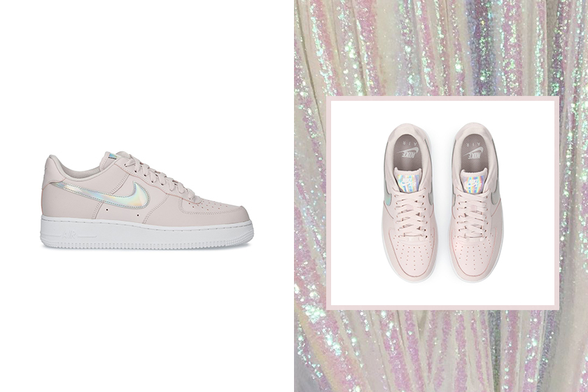 nike air force 1 07 womens sneakers pastel pink silver metallic colorway release info