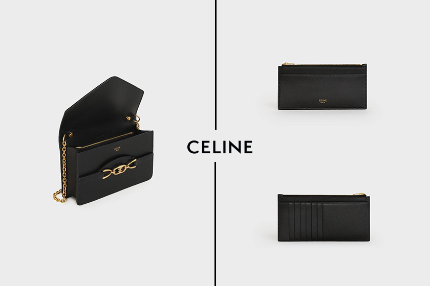 celine wallet on chain in shiny calfskin