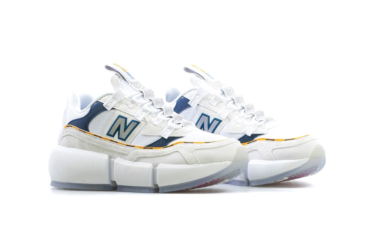 Jaden smith new balance vision racer white navy blue yellow release sneakers