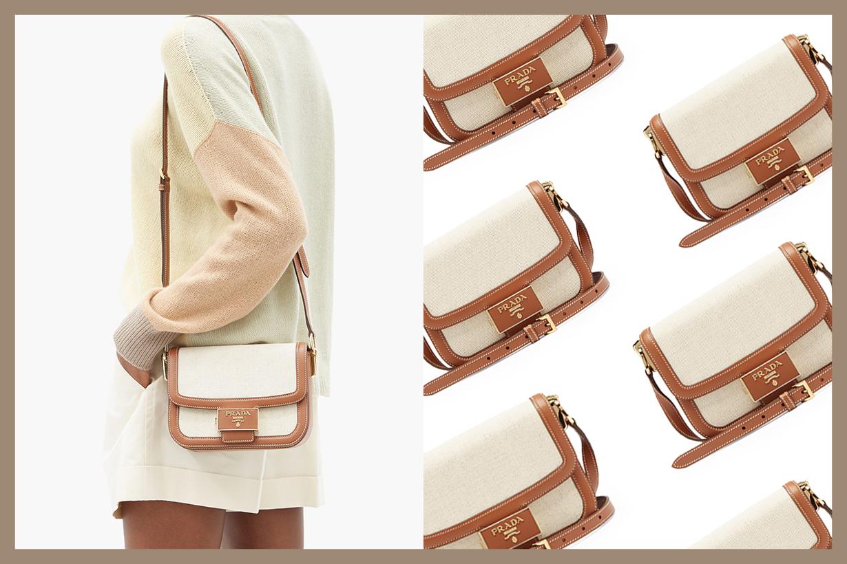 Prada Emblème Linen Blend Bag