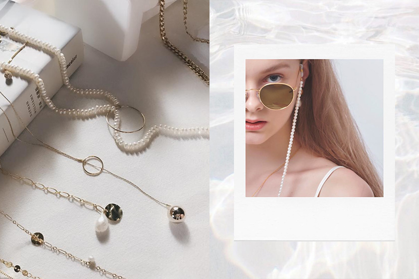 LESIS fashion designer band minimal pearl jewelry connected collection