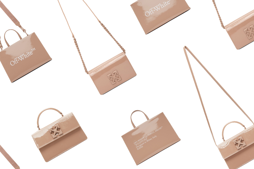 Off-White Jitney Bag Box Bag Beige Pink Color Handbags