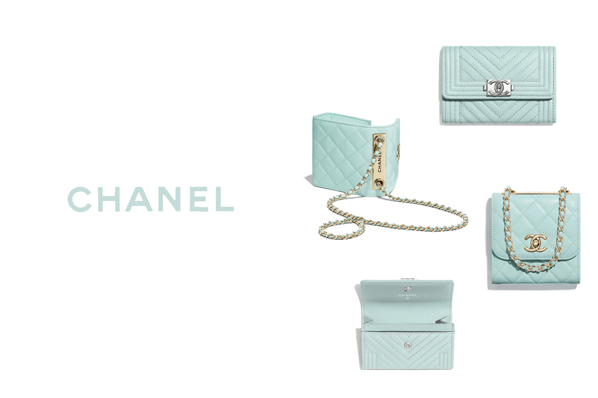 chanel light blue 2020 leather accesories boy wallet