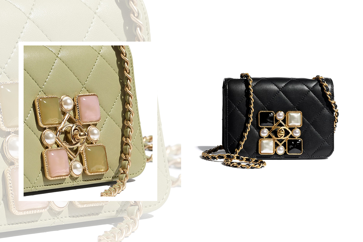 Chanel Small Flap Bag with Crystal Pearls and Resin 2020 Fall Winter