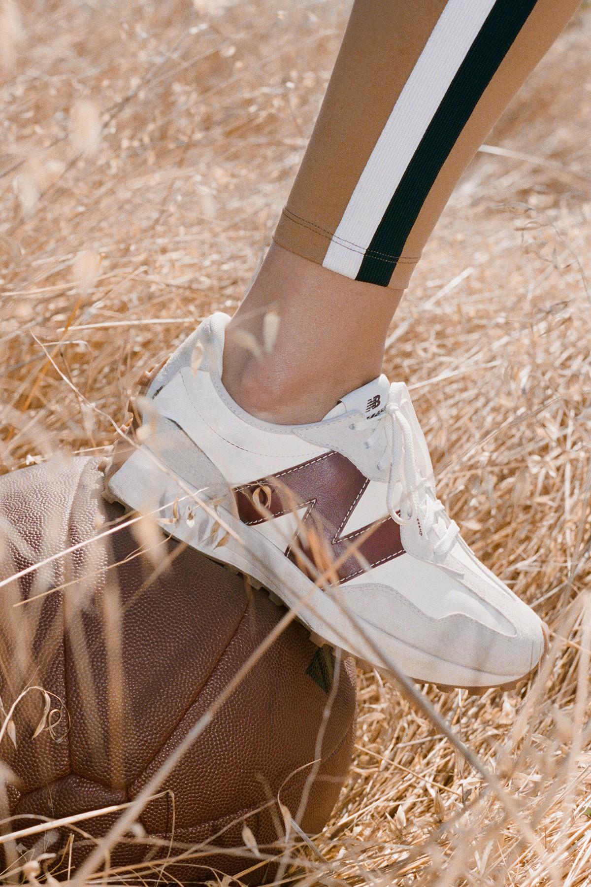 staud new balance activewear collaboration collection 327 sneaker bike shorts leggings
