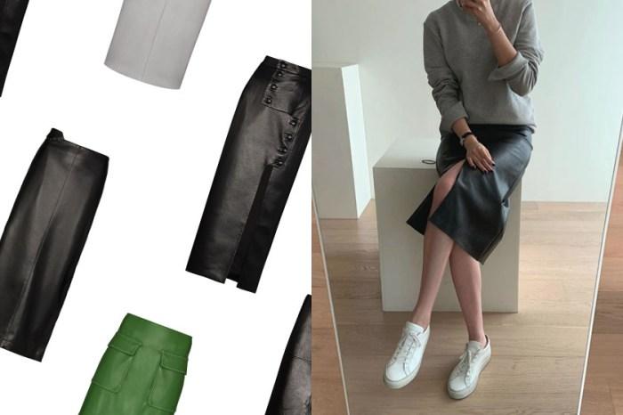 中性穿搭只挑它,韓國女生今季靠著這件皮革裙穿出迷人線條!