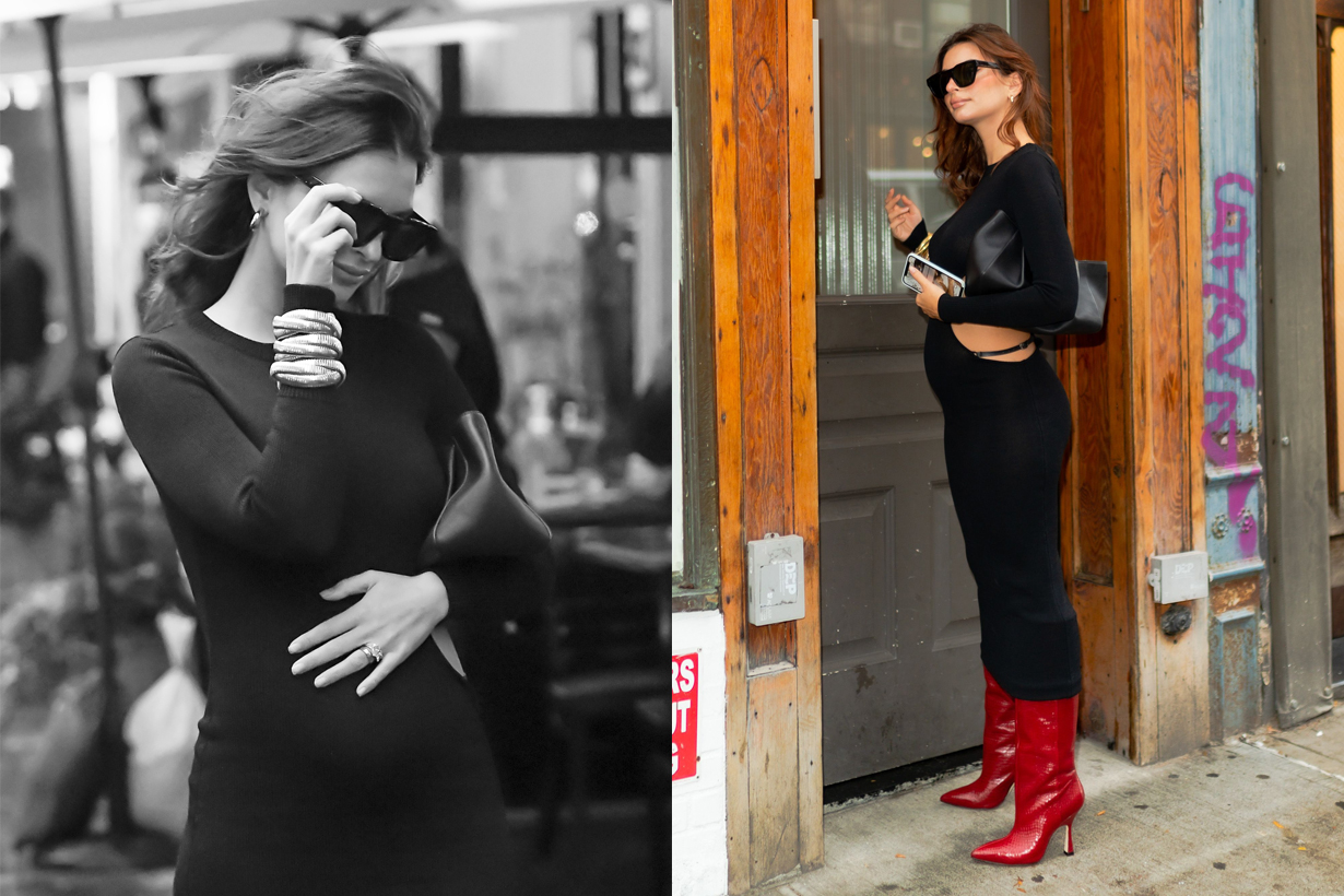 emily Ratajkowski Maternity style AYA MUSE dress khaite Stuart Weitzman
