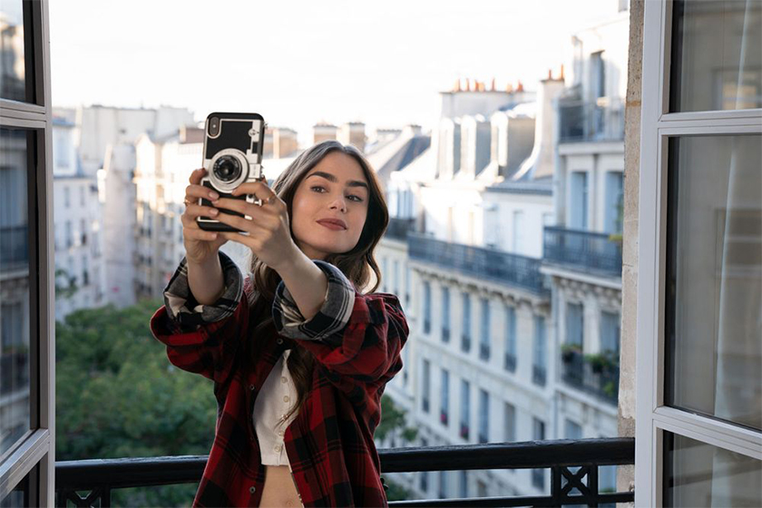 emily in paris Lily Collins phone case retro camera