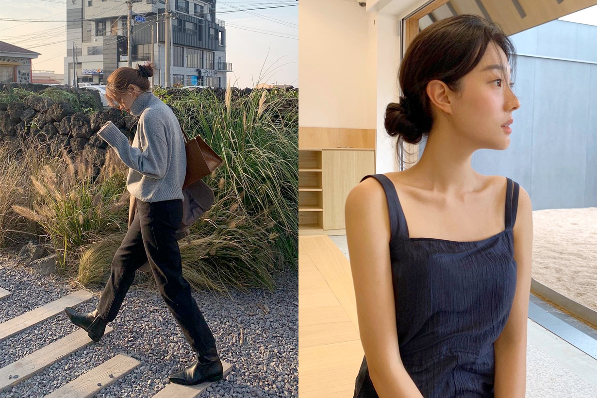 low bun hairstyle tutorial korean girl easy way