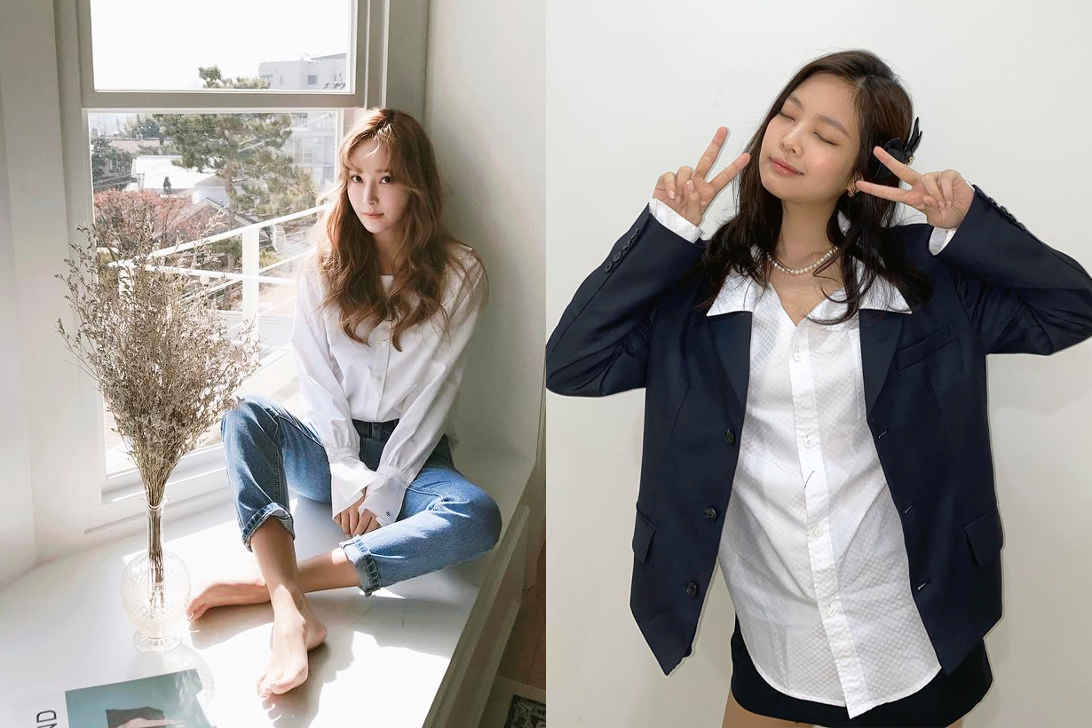 Korean idols celebrities singers actresses White shirt styling tips fashion trends 2020 Fall winter