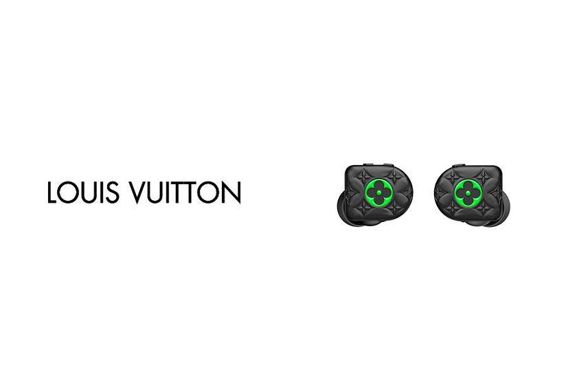 louis vuitton horizon black neon green monogram earphones virgil abloh