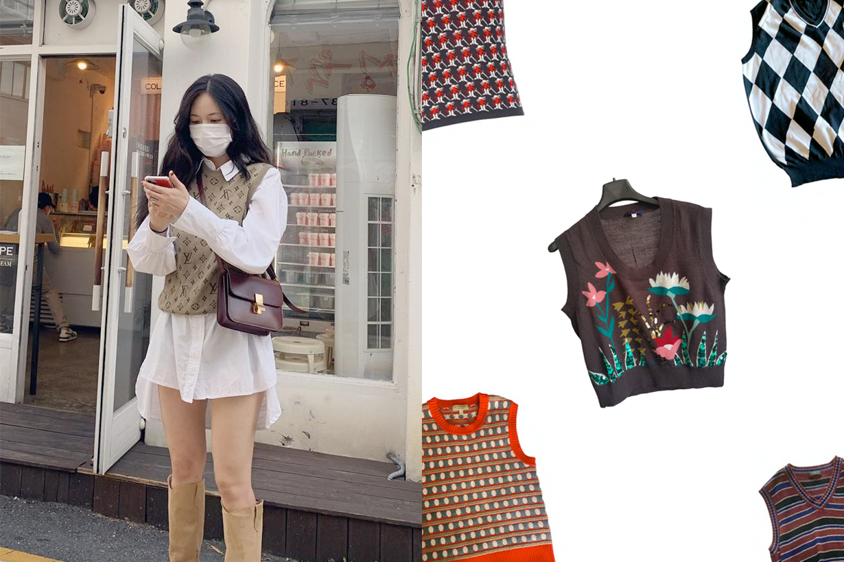 hyuna louis vuitton vintage knit wool pull monogram outfit
