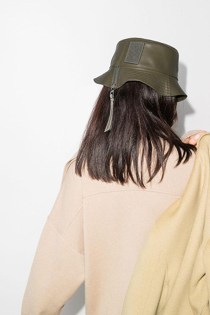LOEWE Green Leather Bucket Hat