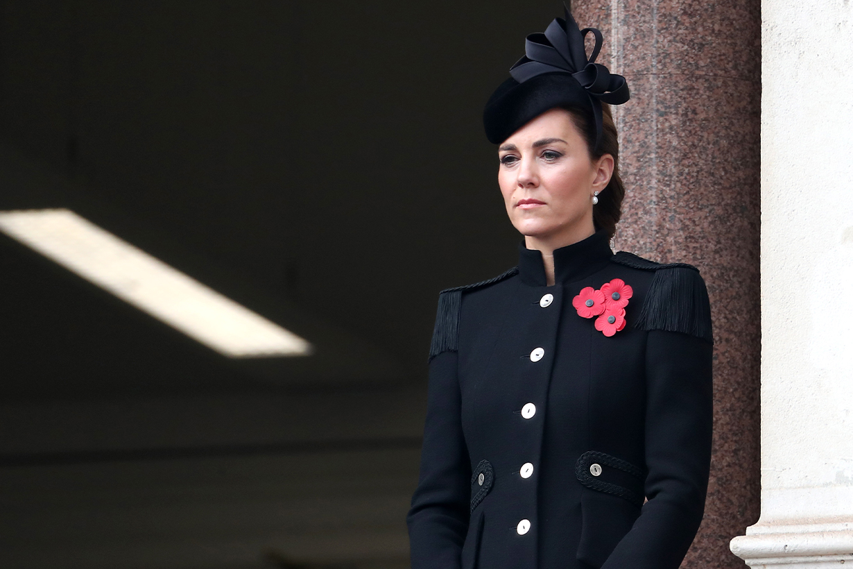 British Remembrance Day Royal Events Kate Middleton Black Catherine Walker Military Coat British Royal Family